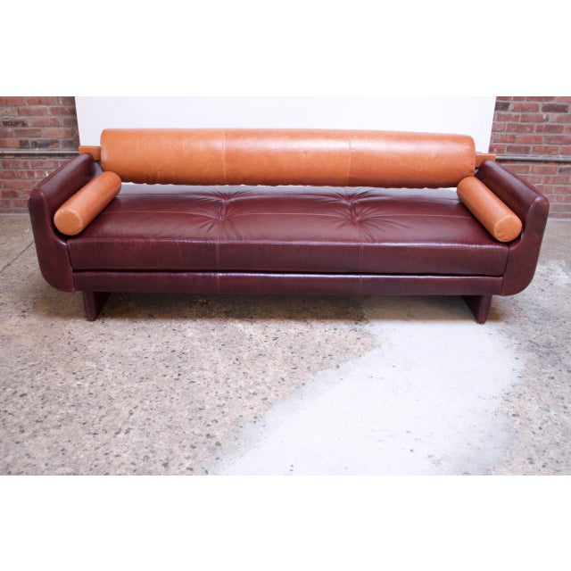 Memphis Leather 'Matinee' Sofa / Daybed by Vladimir Kagan For Sale - Image 3 of 13