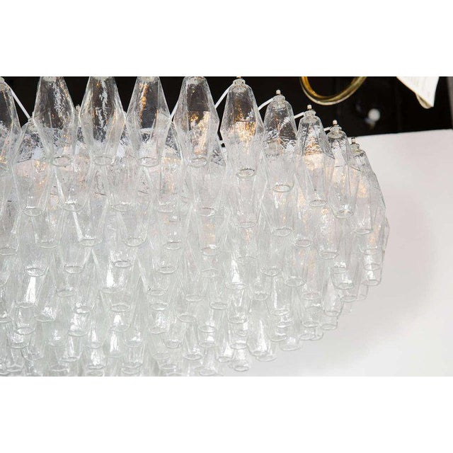 Murano, Venini & Co. Modernist Handblown Murano Translucent Glass and Chrome Polyhedral Chandelier For Sale - Image 4 of 8