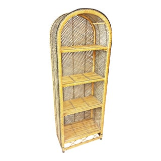 Mid Century Boho Chic Wicker Dome Top Bookcase