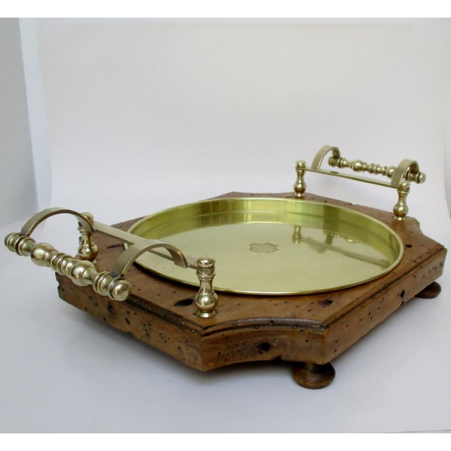 Wood & Brass Serving Tray For Sale - Image 4 of 8