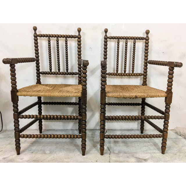 Pair of Antique French Oak Spool Chairs For Sale In Atlanta - Image 6 of 8