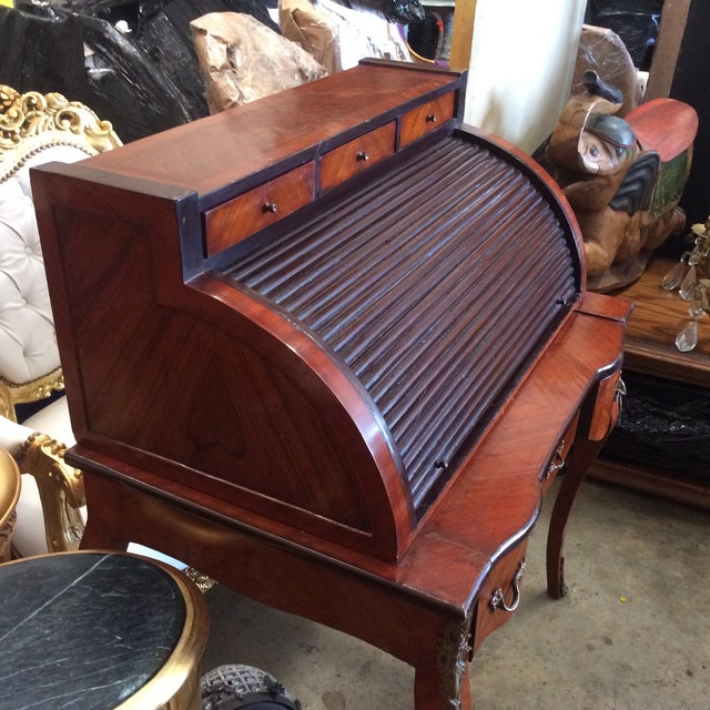 1980s Roll Top Writing Desk For Sale - Image 5 of 10
