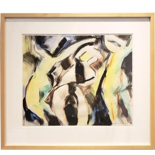 Watercolor Dancers in Black and Yellow by Artist Jacques Lamy For Sale