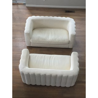 Rh Art Deco Cream Velvet & Down Channel Love Seats - A Pair For Sale