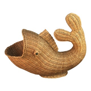 1970s Wicker Fish Basket or Bowl For Sale