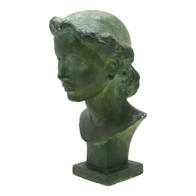 French Art Deco Patina Lady Bust For Sale