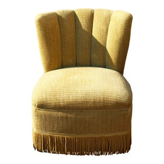 Hollywood Regency Chartreuse Channel Back Slipper Parlor Chair For Sale