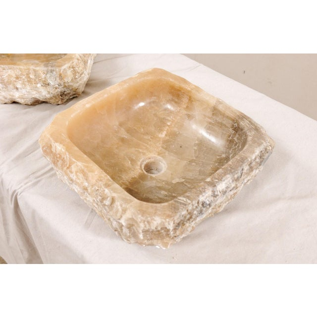 White Pair of Natural Onyx Sink Basins For Sale - Image 8 of 12