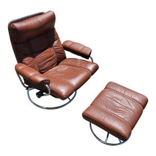 Ekornes Norway Stressless Brown Leather Chrome Lounge Chair & Ottoman For Sale