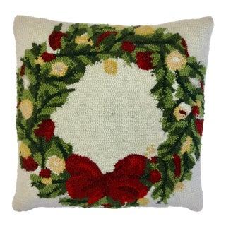Needlepoint Wreath Throw Pillow For Sale