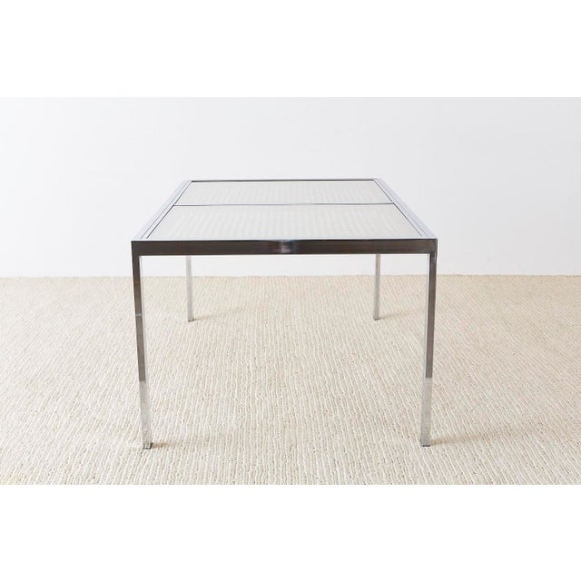 Milo Baughman Chrome Cane Wicker Dining Table For Sale In San Francisco - Image 6 of 13