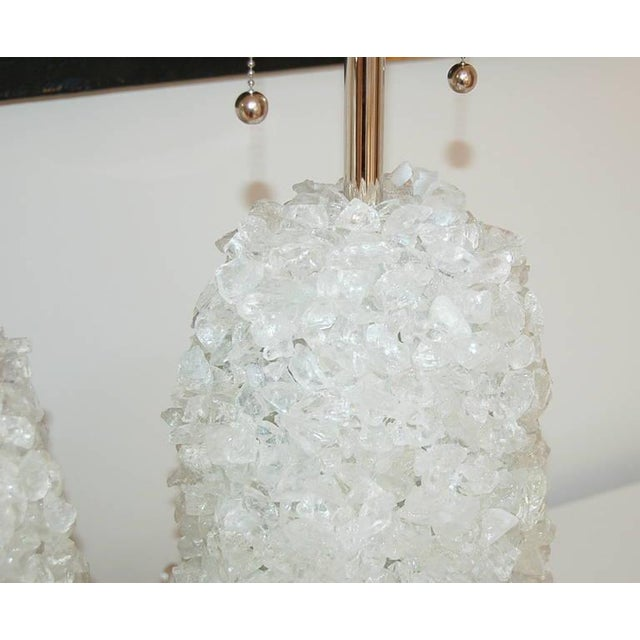 Glass Rock Table Lamps by Swank Lighting White Ice For Sale In Little Rock - Image 6 of 10