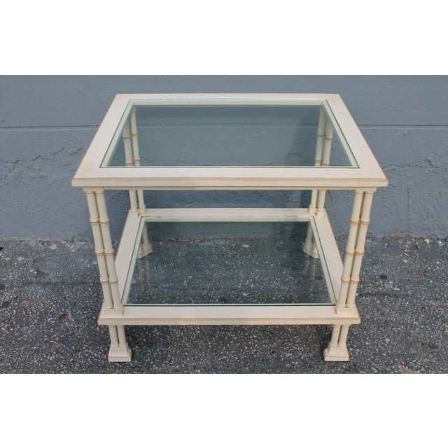 1990s 1960s Hollywood Regency Triple Stalk Off White Faux Bamboo Accent/Side Table For Sale - Image 5 of 9