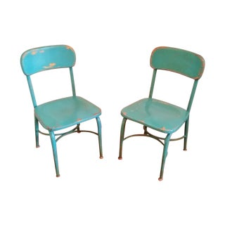 Vintage Heywood Wakefield Teal Chairs - A Pair For Sale