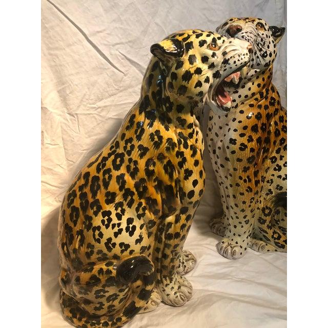 Hollywood Regency Large Hollywood Regency Italian Terracotta Glazed Leopards a Pair For Sale - Image 3 of 7