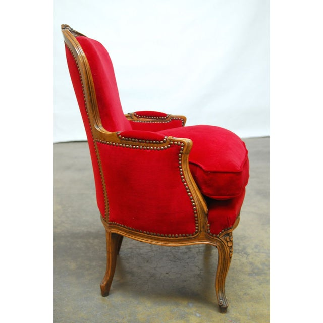 Antique French Louis XV Carved Red Velvet Bergere - Image 5 of 9