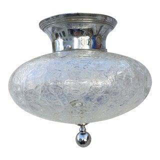 Vintage Crackle Glass Shade With Vintage Nickel Flush Mount Fixture For Sale