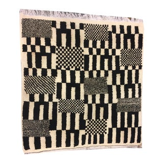 """1970s Black and White Moroccan Design Rug- 3'3"""" X 3'3"""" For Sale"""