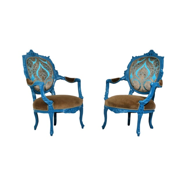 Antique French Blue Peacock Chairs - a Pair - Image 1 of 4