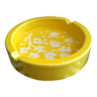 Vintage 70's Italian Bright Yellow Floral Ceramic Ash Tray For Sale