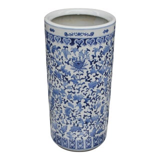 Vintage Blue & White Chinoiserie Style Umbrella Stand