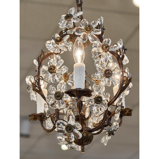 Art Deco Vintage Baguès Crystal Chandelier For Sale - Image 3 of 10