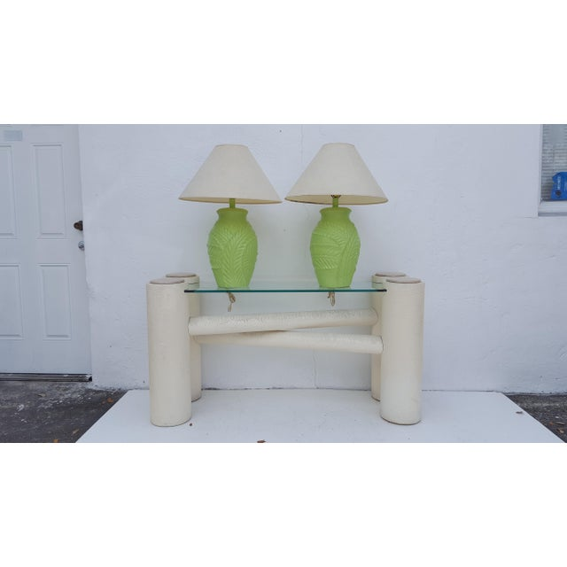 White Vintage Sculptural -X- Form Base Console Table For Sale - Image 8 of 9