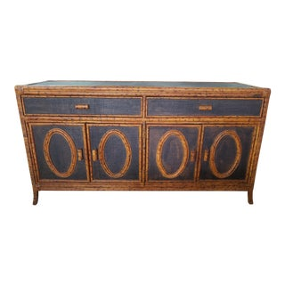 1990s Chic Tortoise Shell Rattan Credenza For Sale