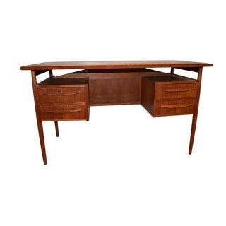 1960s Danish Mid Century Modern Teak Desk by Gunnar Nielsen Tibergaard For Sale