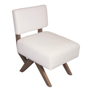 Trish Custom Slipper Chair with Rogers & Goffigan White Boucle Fabric For Sale