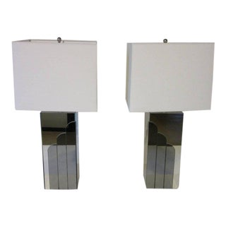 1970s Glamorous Chromed Metal and Mirrored Table Lamps - a pair For Sale