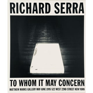 1990's Vintage Richard Serra Poster For Sale