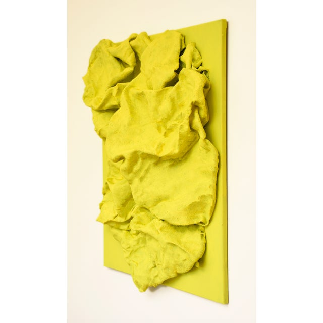 "Abstract ""Lemon Yellow Folds"" Mixed Media Wall Sculpture by Chloe Hedden For Sale - Image 3 of 5"