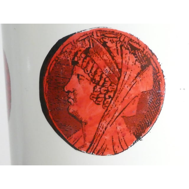 Mid 20th Century Vintage Italian Fornasetti Red Cameo Lamps - a Pair For Sale - Image 10 of 13