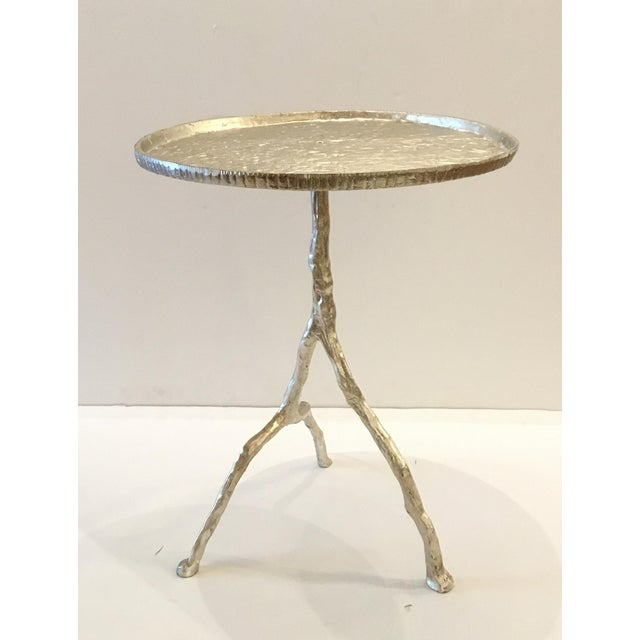 2010s Arteriors Distressed Silver Metal Forest Park Side Table For Sale - Image 5 of 5