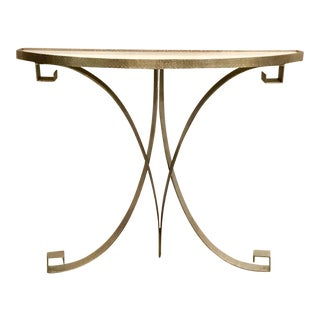 Modern Global Views Metal and White Marble Carved Wall Console Table For Sale