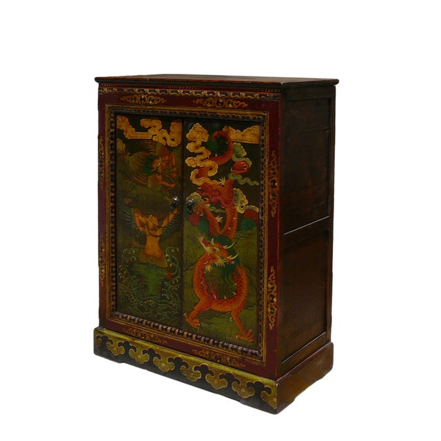 Chinese Tibetan Garuda Dragon Accent Table Cabinet - Image 3 of 4