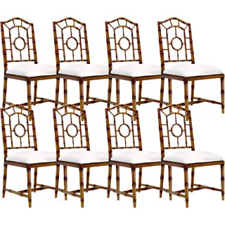 Bungalow 5 Chloe Walnut Brown Wood Upholstered Dining Side Chairs – Set of 8