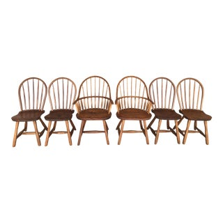 Hunt Country Furniture Oak Hoop Back Dining Chairs- Set of 6 For Sale