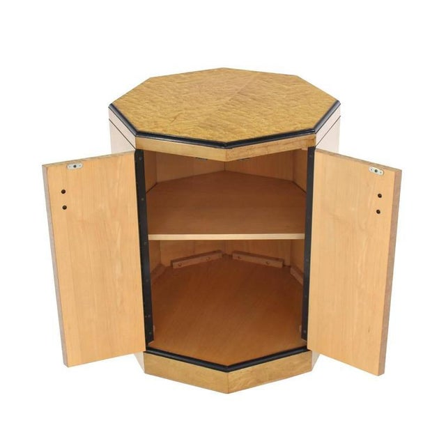 Two doors storage compartment octagon shape side table or pedestal perfect art work display.