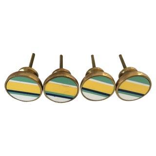 Striped Brass Knobs - Set of 4