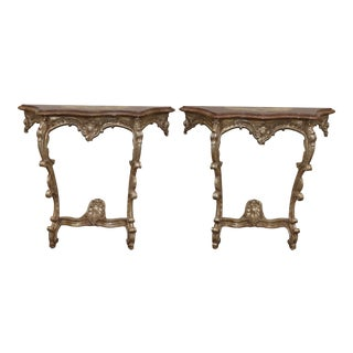 Italian Hand Painted Wall Console Tables - a Pair For Sale
