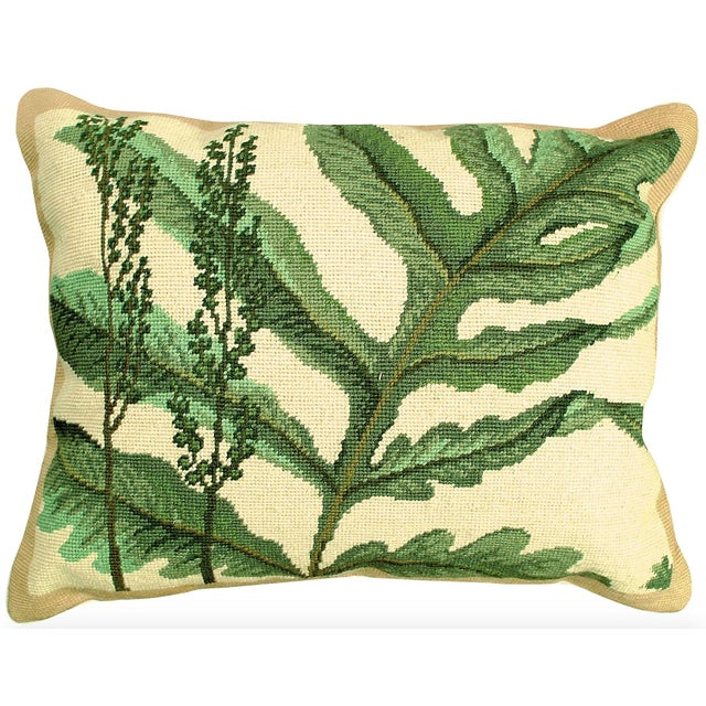 Fern Needlepoint Accent Pillow For Sale - Image 4 of 4