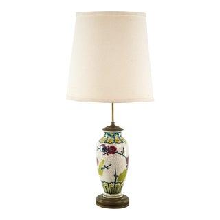 Vintage Hand Painted Porcelain & Bronze Table Lamp For Sale