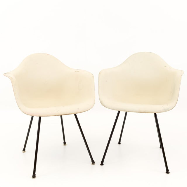 Mid-Century Modern Eames for Herman Miller Molded Plastic X-Base Shell Chairs - a Pair For Sale - Image 11 of 11
