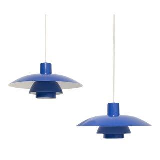 Vintage 1960s Ph 4/3 Blue Pendant Lights by Louis Poulsen - a Pair For Sale