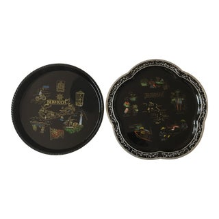 1990s Folk Art Black Souvenir Trays - a Pair For Sale