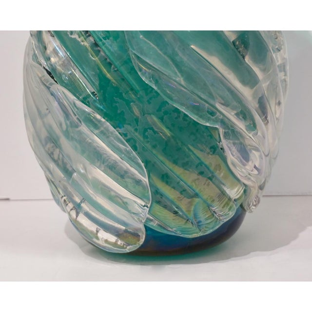 Italian Modern Iridescent Emerald Green Murano Glass Sculpture Vases - a Pair For Sale - Image 9 of 12