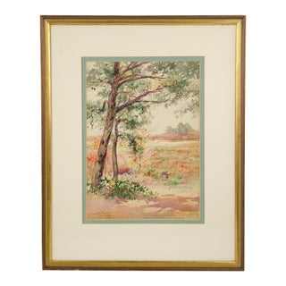 """Watercolor on Paper """"Pines Autumn"""" by Edmund Garrett For Sale"""