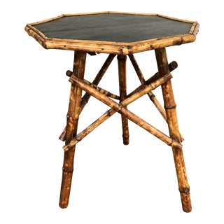 1900 Tortoise Bamboo Octagonal Table For Sale
